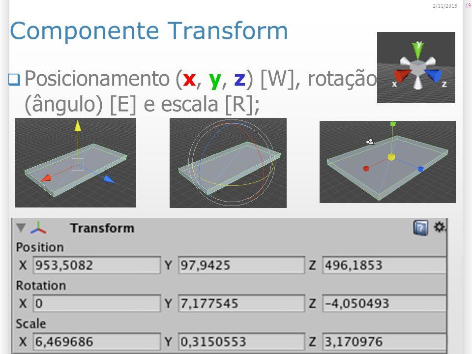 Componente Transform 23/03/2017 Posicionamento (x, y, z) [W], rotação (ângulo) [E] e escala [R];